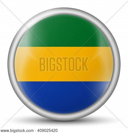 Glass Light Ball With Flag Of Gabon. Round Sphere, Template Icon. National Symbol. Glossy Realistic