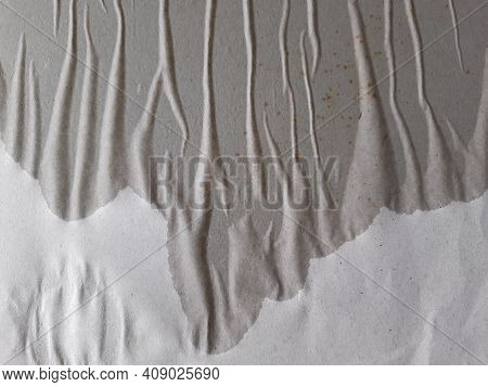 Closeup Of White Wrinkled Paper Background. Wet And Crease Realistic Tape. Crumpled And Grunge Surfa