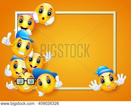 Smileys Background Template With Boarder Frame And Happy Facial Expressions