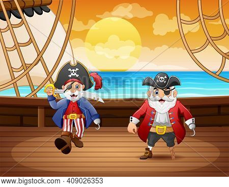 Cartoon Pirate Ship With Two Captain In The Sea