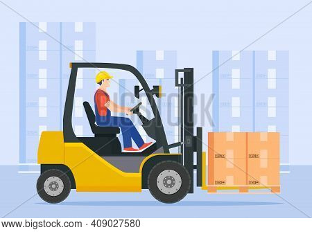 Yellow Forklift Truck With Driver. Electric Uploader. Delivery, Logistic And Shipping Cargo. Warehou