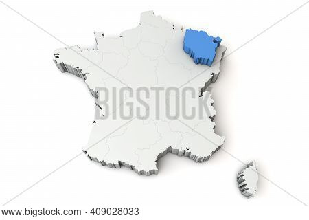 Map Of France Showing Lorraine Region. 3d Rendering