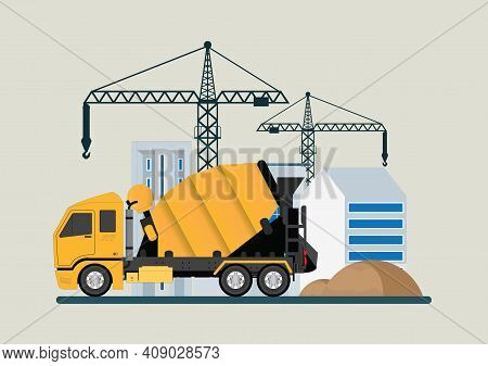 Crane With Concrete Mixer.construction Of Building. Machinery Working In Area.under Construction Bui