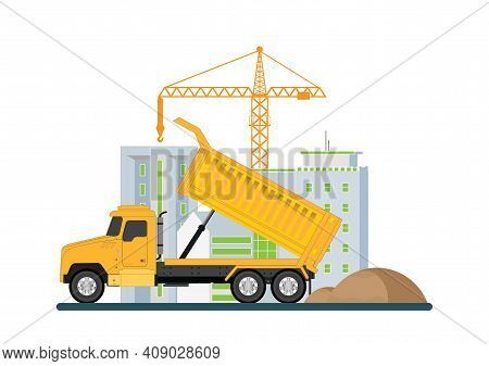 Crane With Dump Truck.construction Of Building. Machinery Working In Area.under Construction Buildin