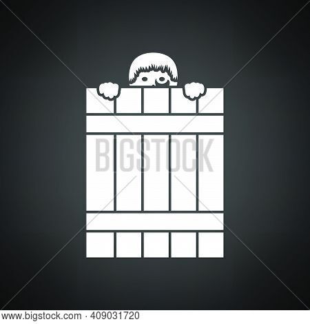Criminal Peeping From Fence Icon. White On Black Background. Vector Illustration.