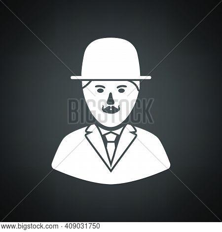 Detective Icon. White On Black Background. Vector Illustration.