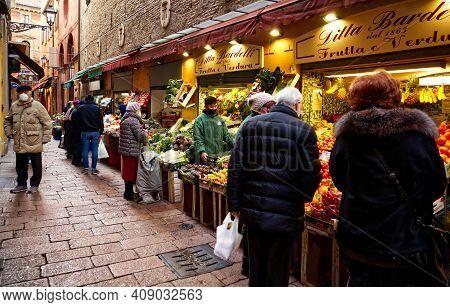 Bologna - Italy - January 4, 2021: Market Il Quadrilatero Located In The Center Of Bologna Animated