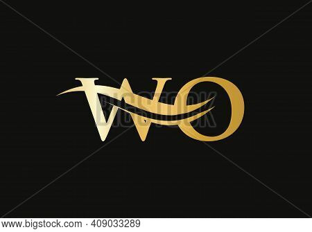 Letter Wo Logo Design, Gold, Beauty Industry And Fashion Logo.cosmetics Business, Natural,spa Salons