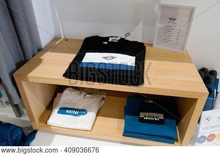 Bordeaux , Aquitaine France - 02 16 2021 : Mini Cooper Car Clothes Shirt Accessories Clothing Store
