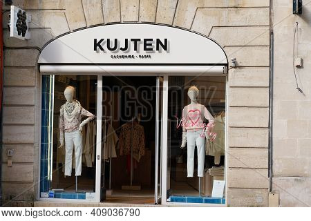Bordeaux , Aquitaine France - 02 16 2021 : Kujten Sign Brand And Logo Text Front Of Luxury Store Fre