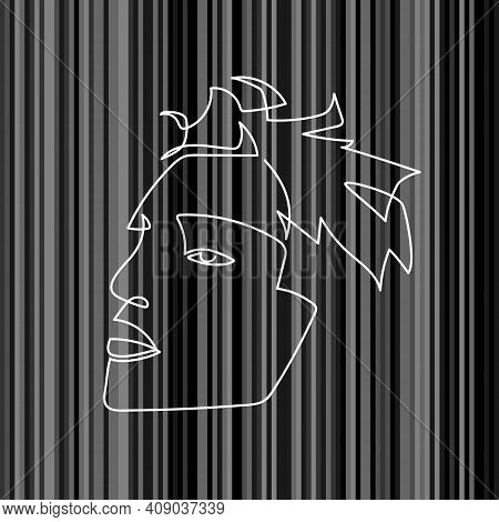Continuous Line Abstract Face. Contemporary Minimalist Portrait. Hand Drawn Line Art Of Man. Moral O