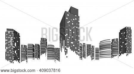Cityscape On White Background, Modern City Skyline, City Silhouette, Vector Illustration In Flat Des