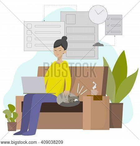 Girl Work At Home With Cat. Home Work Place. Freelance Home Office. Vector Illustration For Outsourc