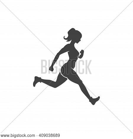 Sports Woman Engaged In Jogging Fitness Vector Logo. Female Slender Black Silhouette Runs Sports Mar