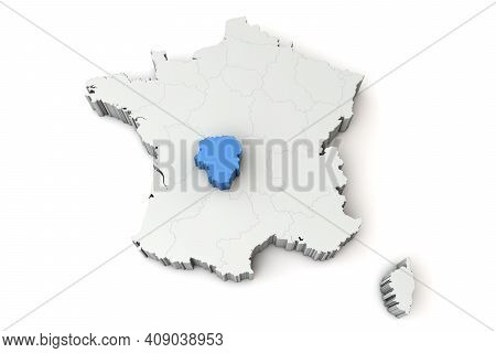 Map Of France Showing Limousin Region. 3d Rendering