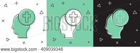 Set Man Graves Funeral Sorrow Icon Isolated On White And Green, Black Background. The Emotion Of Gri