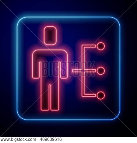 Glowing Neon User Of Man In Business Suit Icon Isolated On Blue Background. Business Avatar Symbol U