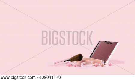 Beauty And Cosmetics Makeup Blusher Pearls Monochrome Pink