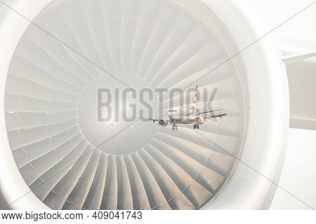 Travelling By Plane, Double Exposure Image. Flying Airplane