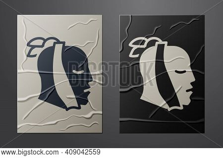 White Toothache Icon Isolated On Crumpled Paper Background. Paper Art Style. Vector