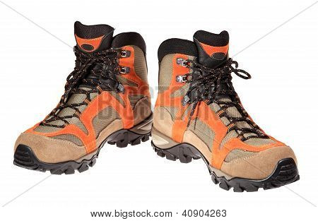 Hiking Boots On The White Background