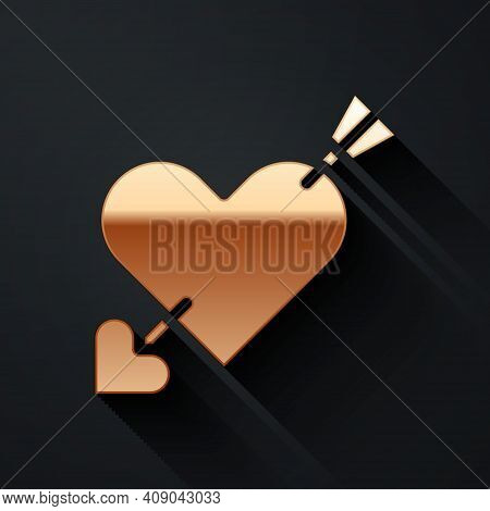 Gold Amour Symbol With Heart And Arrow Icon Isolated On Black Background. Love Sign. Valentines Symb