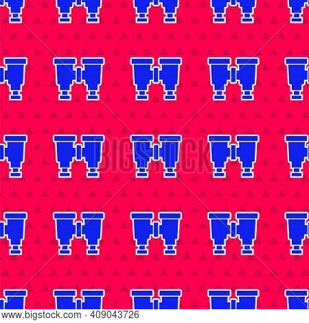 Blue Binoculars Icon Isolated Seamless Pattern On Red Background. Find Software Sign. Spy Equipment