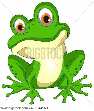 Green Smiling Vector Frog. White Isolated Background.
