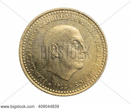 Spain One Peseta Coin On White Isolated Background
