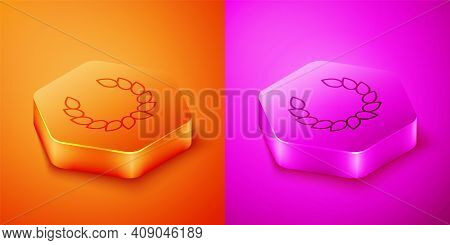 Isometric Laurel Wreath Icon Isolated On Orange And Pink Background. Triumph Symbol. Hexagon Button.