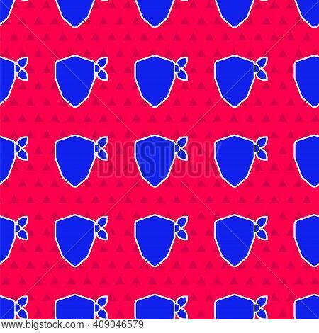 Blue Vandal Icon Isolated Seamless Pattern On Red Background. Vector