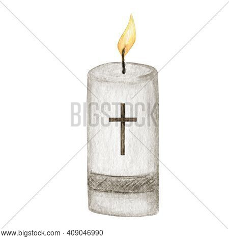 Religious Candle Flame Fire Light, Candle With Cross, Isolated On White Background. Religious Chatol