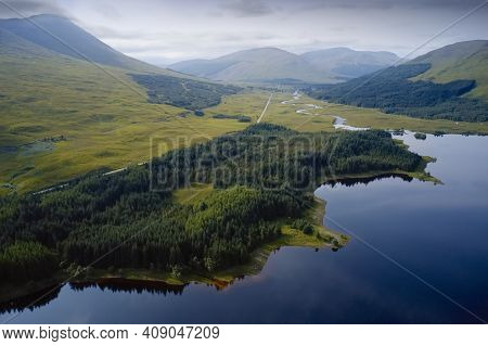Loch Tay Aerial View During Summer And Mountains In Perthshire