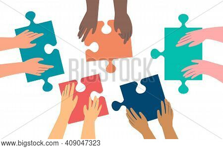 Five Pairs Of Hands Of Diffirent Skin Colors Moving In Puzzle Pieces. Working Together To Solve A Pr