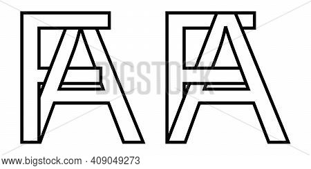 Logo Sign Fa Af Icon Sign Interlaced Letters A, F Vector Logo Af, Fa First Capital Letters Pattern A
