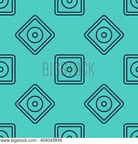 Black Line Billiard Chalk Icon Isolated Seamless Pattern On Green Background. Chalk Block For Billia