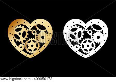 Gold And White Silhouettes Of Heart With Gears. Mechanism. Steampunk. Decorative Element For A Styli