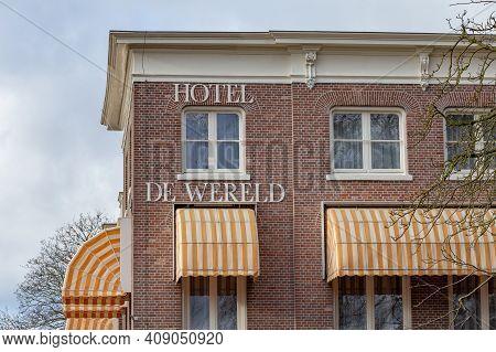 Wageningen, The Netherlands - January 21, 2021: Hotel De Wereld In Wageningen, Gelderland In The Net