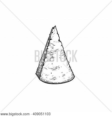 Parmesan (parmegiano) Cheese. Top View. Hand Drawn Sketch Style Drawing Of Traditional Italian Hard