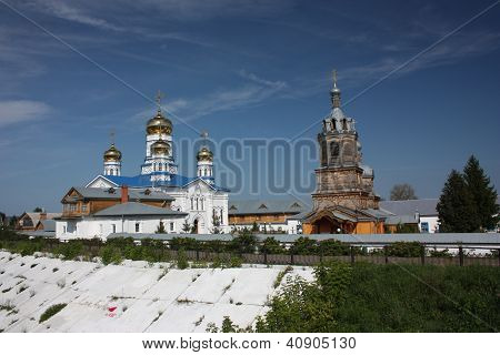 Russia, Chuvash Republic, Tsivilsk. Dome of the Tikhvin Bogoroditsky monastery. poster