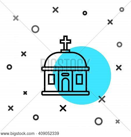 Black Line Santorini Building Icon Isolated On White Background. Traditional Greek White Houses With