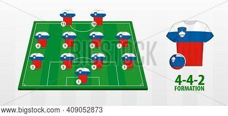Slovenia National Football Team Formation On Football Field. Half Green Field With Soccer Jerseys Of