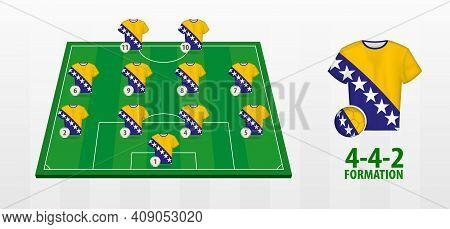 Bosnia And Herzegovina National Football Team Formation On Football Field. Half Green Field With Soc