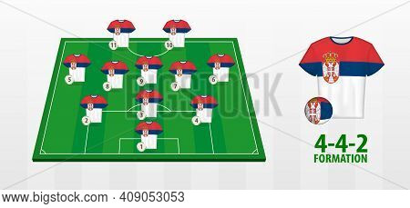 Serbia National Football Team Formation On Football Field. Half Green Field With Soccer Jerseys Of S