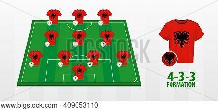 Albania National Football Team Formation On Football Field. Half Green Field With Soccer Jerseys Of