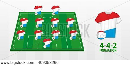 Luxembourg National Football Team Formation On Football Field. Half Green Field With Soccer Jerseys
