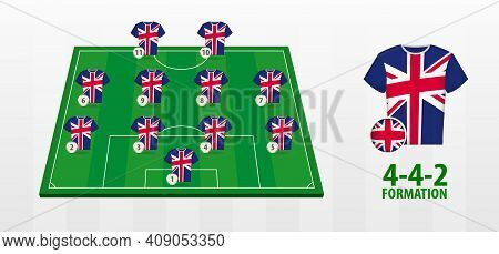 United Kingdom National Football Team Formation On Football Field. Half Green Field With Soccer Jers