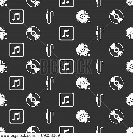 Set Vinyl Disk, Cd Or Dvd Disk, Music Note, Tone And Audio Jack On Seamless Pattern. Vector