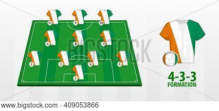 Ivory Coast National Football Team Formation On Football Field. Half Green Field With Soccer Jerseys