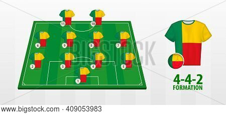 Benin National Football Team Formation On Football Field. Half Green Field With Soccer Jerseys Of Be